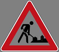 Verkehrszeichen Baustelle mit Burgsihouette