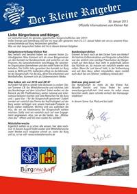Kleiner Ratgeber Titelseite Januar 2013